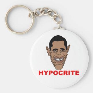 Barack Hussein Obama=Hypocrite Llavero Redondo Tipo Pin