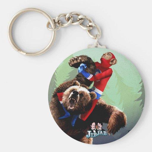 Barack lucha un oso llavero redondo tipo pin