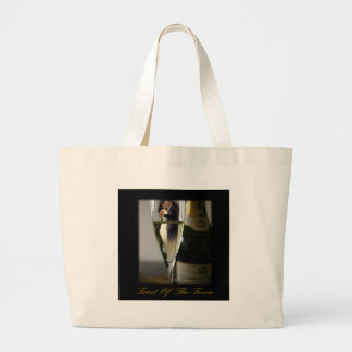 BARACK & MICHELLE OBAMA:  TOAST OF THE TOWN LARGE TOTE BAG