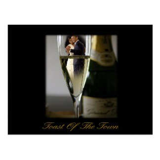 BARACK & MICHELLE OBAMA:  TOAST OF THE TOWN POSTCARD