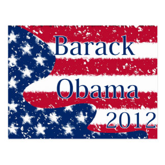 Barack Obama 2012 Altered US Flag Postcard