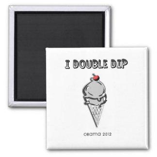 Barack Obama 2012 Double Dip 2 Inch Square Magnet
