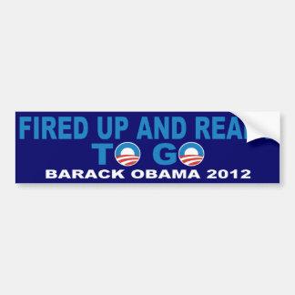 Barack Obama 2012 encendido para arriba y alista p Etiqueta De Parachoque