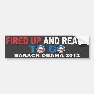 Barack Obama 2012 encendido para arriba y alista p Pegatina De Parachoque