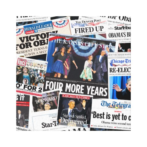 Barack Obama 2012 Front Page Newspaper Canvass Stretched Canvas Prints