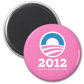 "Barack Obama 2012 ""O"" Logo (Pink) 2 Inch Round Magnet"