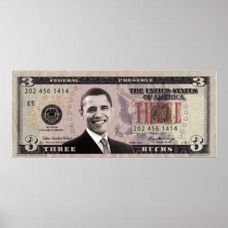Barack Obama $3 Bill Poster