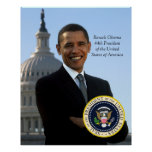 Barack Obama 44 Pres Portrait & Official Pres Seal Poster