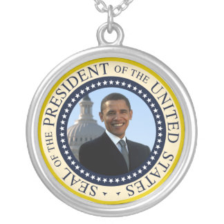 Barack Obama 44th President of the USA Seal Silver Plated Necklace
