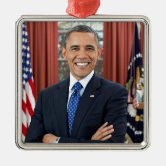Barack Obama Adorno Navideño Cuadrado De Metal