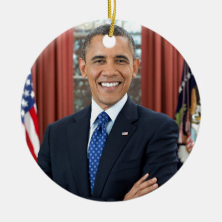Barack Obama Adorno Navideño Redondo De Cerámica