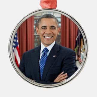 Barack Obama Adorno Navideño Redondo De Metal