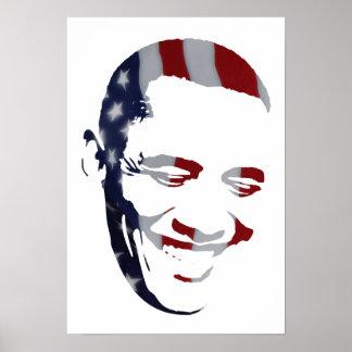 Barack Obama - American Flag - Poster