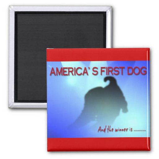 BARACK OBAMA: AMERICA'S FIRST DOG 2 INCH SQUARE MAGNET