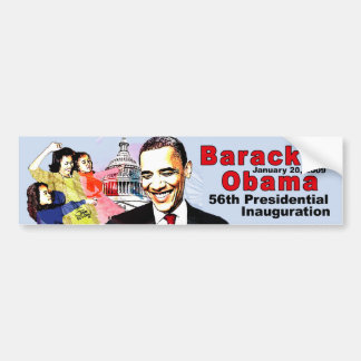 BARACK OBAMA  AND FAMILY CAR BUMPER STICKER