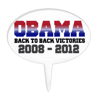 Barack Obama Back-to-Back Victory Items Cake Topper