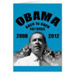Barack Obama Back-to-Back Victory Items Greeting Card