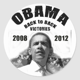 Barack Obama Back-to-Back Victory Items Classic Round Sticker