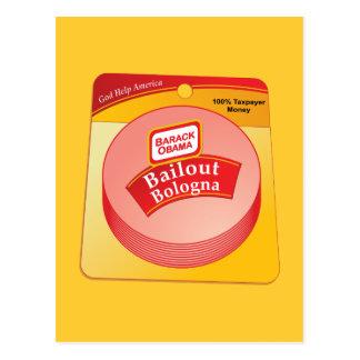 Barack Obama - Bailout Bologna Postcard