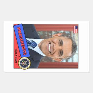 Barack Obama Baseball Card Rectangular Sticker