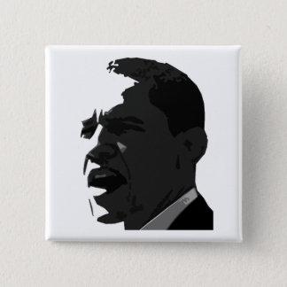 Barack Obama Black on White Square Button