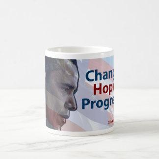 Barack Obama: Cambio, esperanza, progreso Taza De Café