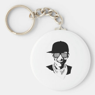 Barack Obama Cap Bandana Glasses Basic Round Button Keychain