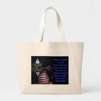 Barack Obama Change quote Large Tote Bag