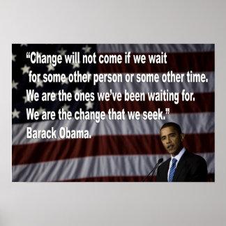 Barack Obama Change quote Poster