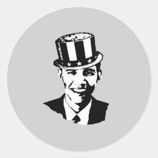 Barack Obama como tío Sam Etiqueta Redonda
