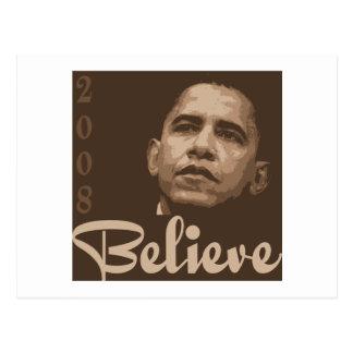 Barack Obama cree la postal