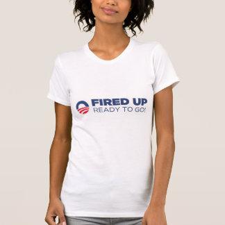 Barack Obama encendió para arriba listo para ir Camisetas
