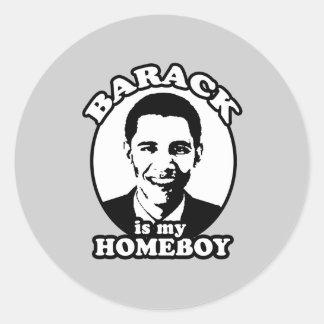 Barack Obama es mi homeboy Pegatinas Redondas