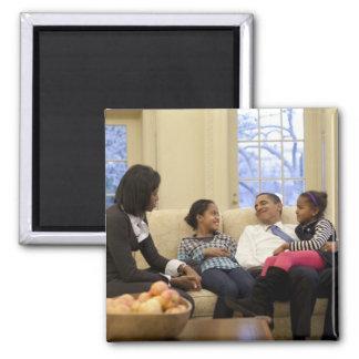 Barack Obama & Family 2 Inch Square Magnet