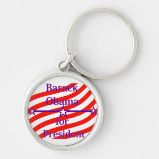 Barack Obama For President Strips With 3 Stars And Silver-Colored Round Keychain
