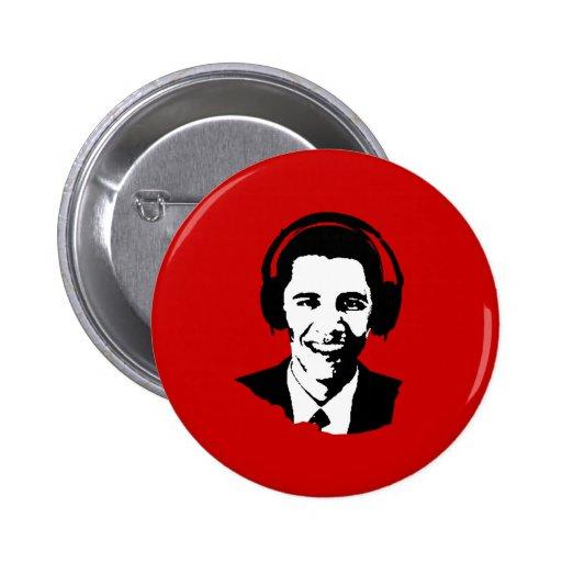 Barack Obama headphones Pin