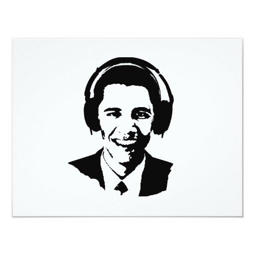"Barack Obama headphones 4.25"" X 5.5"" Invitation Card"