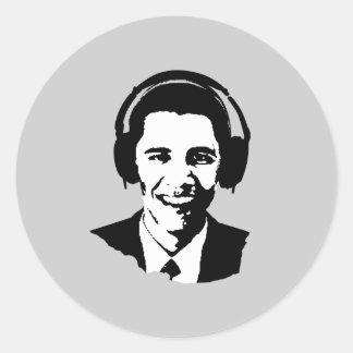 Barack Obama headphones Round Sticker