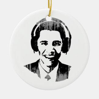 Barack Obama headphones Vintage.png Double-Sided Ceramic Round Christmas Ornament