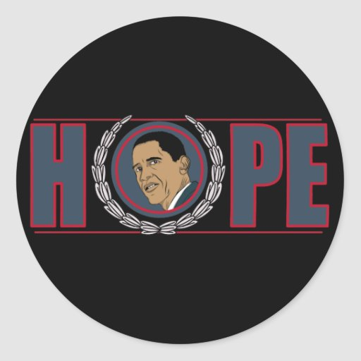 Barack Obama Hope Round Stickers