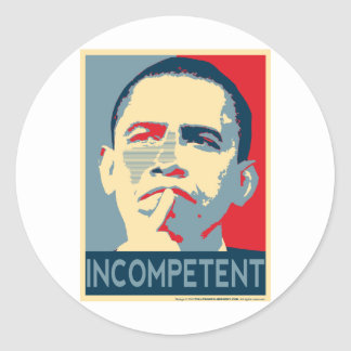 Barack Obama - Incompetent Classic Round Sticker