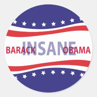 Barack Obama insano Etiquetas Redondas