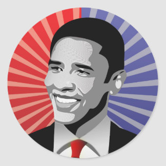 Barack Obama intrépido Pegatina Redonda