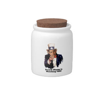 Barack Obama Is Watching YOU Uncle Sam Parody Candy Jars