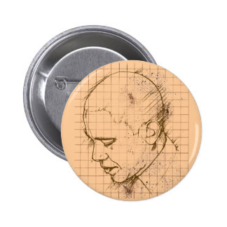 Barack Obama Line Drawing 2 Inch Round Button