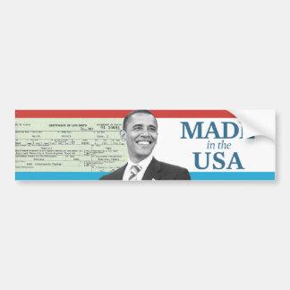 Barack Obama Made in the USA Birth Certificate Bumper Sticker