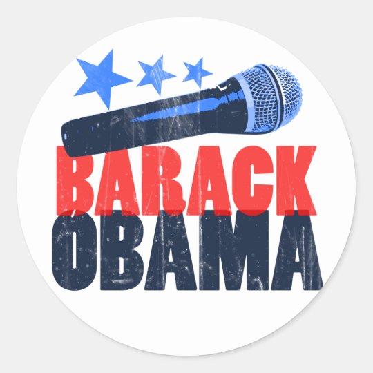 Barack Obama Mic Classic Round Sticker
