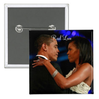 Barack Obama & Michelle , Real Love Pinback Button