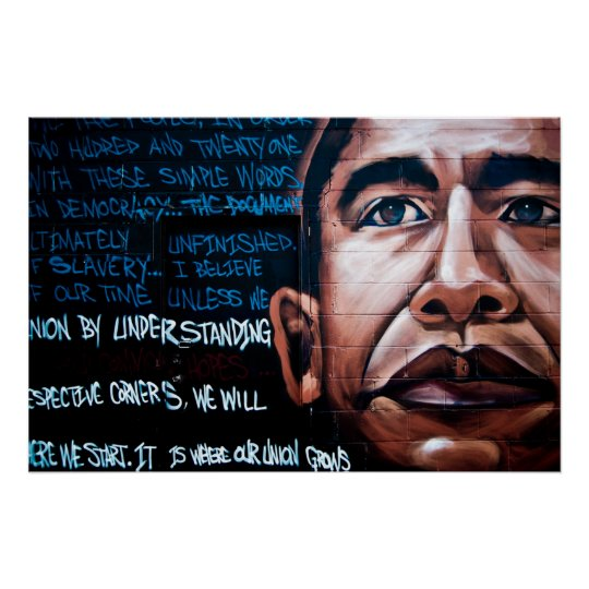 Barack obama mural speech brooklyn new york poster for Poster mural new york