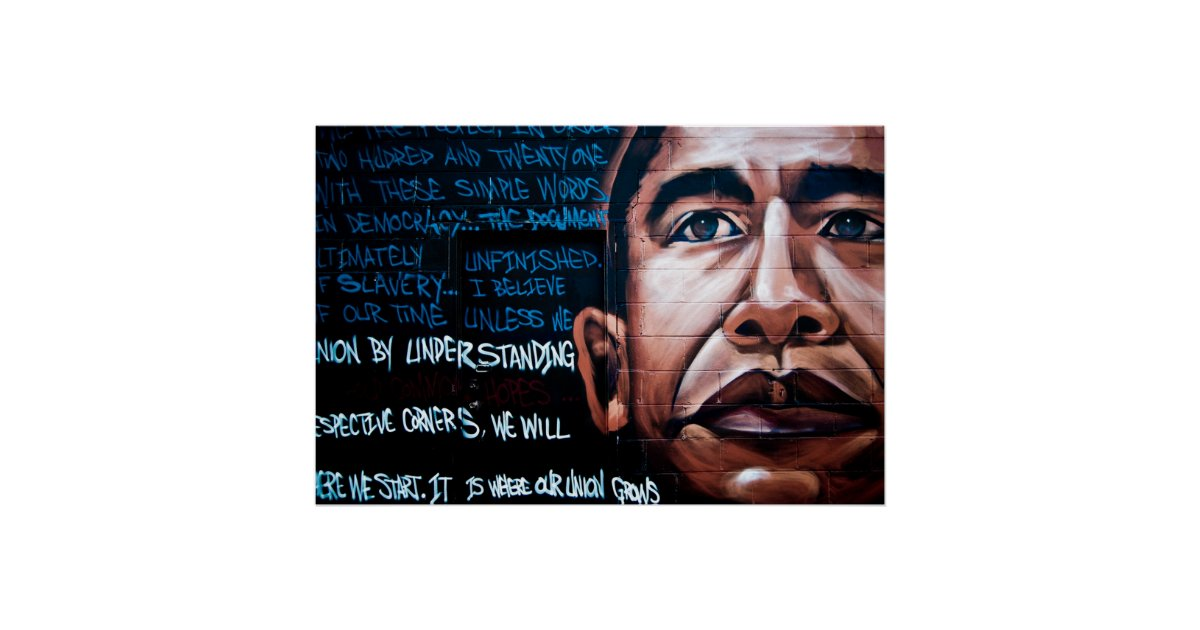 Barack obama mural speech brooklyn new york poster for Poster mural geant new york